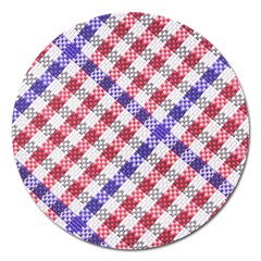 Webbing Wicker Art Red Bluw White Magnet 5  (round) by Mariart