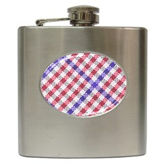 Webbing Wicker Art Red Bluw White Hip Flask (6 Oz) by Mariart