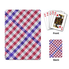 Webbing Wicker Art Red Bluw White Playing Card by Mariart