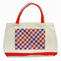 Webbing Wicker Art Red Bluw White Classic Tote Bag (red) by Mariart