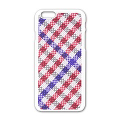 Webbing Wicker Art Red Bluw White Apple Iphone 6/6s White Enamel Case by Mariart