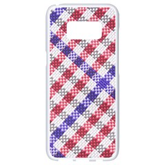 Webbing Wicker Art Red Bluw White Samsung Galaxy S8 White Seamless Case by Mariart