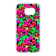 Colorful Leaves Samsung Galaxy S7 Edge White Seamless Case by Costasonlineshop