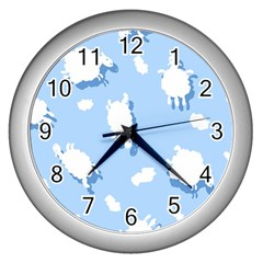 Vector Sheep Clouds Background Wall Clocks (silver)