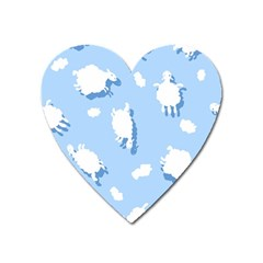 Vector Sheep Clouds Background Heart Magnet by Nexatart