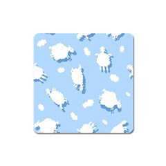 Vector Sheep Clouds Background Square Magnet
