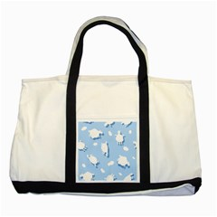 Vector Sheep Clouds Background Two Tone Tote Bag