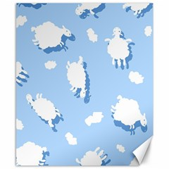Vector Sheep Clouds Background Canvas 8  X 10  by Nexatart