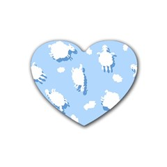 Vector Sheep Clouds Background Rubber Coaster (heart)  by Nexatart