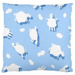 Vector Sheep Clouds Background Large Flano Cushion Case (two Sides) by Nexatart