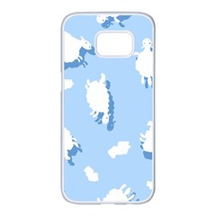 Vector Sheep Clouds Background Samsung Galaxy S7 Edge White Seamless Case