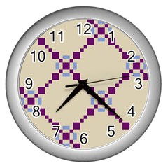 Pattern Background Vector Seamless Wall Clocks (silver)  by Nexatart