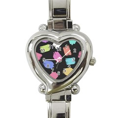 Many Colors Pattern Seamless Heart Italian Charm Watch by Nexatart