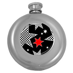 Stars Seamless Pattern Background Round Hip Flask (5 Oz) by Nexatart