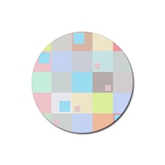 Pastel Diamonds Background Rubber Coaster (round)