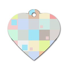Pastel Diamonds Background Dog Tag Heart (two Sides) by Nexatart