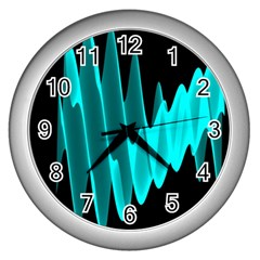 Wave Pattern Vector Design Wall Clocks (silver)