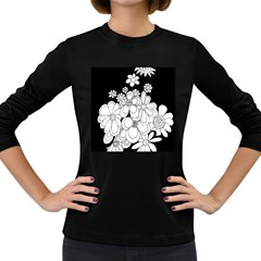 Mandala Calming Coloring Page Women s Long Sleeve Dark T Shirts by Nexatart