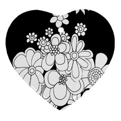 Mandala Calming Coloring Page Heart Ornament (two Sides) by Nexatart
