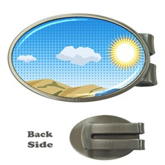Grid Sky Course Texture Sun Money Clips (oval)  by Nexatart