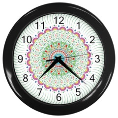 Flower Abstract Floral Wall Clocks (black) by Nexatart