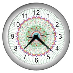 Flower Abstract Floral Wall Clocks (silver)  by Nexatart