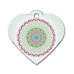 Flower Abstract Floral Dog Tag Heart (one Side) by Nexatart