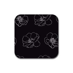 Rose Wild Seamless Pattern Flower Rubber Square Coaster (4 Pack)