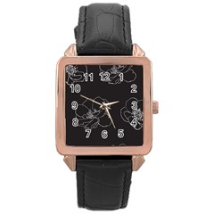 Rose Wild Seamless Pattern Flower Rose Gold Leather Watch  by Nexatart