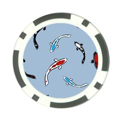 Koi Carp East Vector Seamless Poker Chip Card Guard (10 Pack)