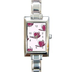 Magnolia Seamless Pattern Flower Rectangle Italian Charm Watch