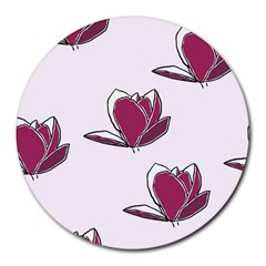 Magnolia Seamless Pattern Flower Round Mousepads