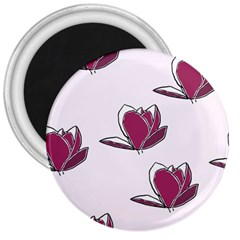 Magnolia Seamless Pattern Flower 3  Magnets