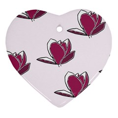 Magnolia Seamless Pattern Flower Ornament (Heart)