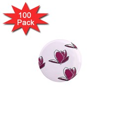 Magnolia Seamless Pattern Flower 1  Mini Magnets (100 pack)
