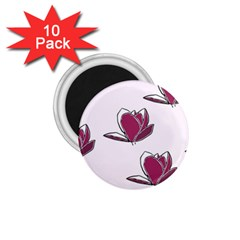 Magnolia Seamless Pattern Flower 1.75  Magnets (10 pack)