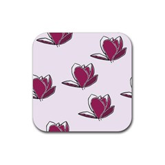 Magnolia Seamless Pattern Flower Rubber Coaster (square)