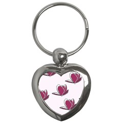Magnolia Seamless Pattern Flower Key Chains (Heart)