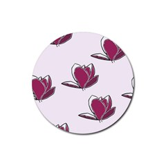 Magnolia Seamless Pattern Flower Rubber Round Coaster (4 pack)