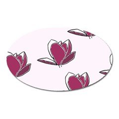 Magnolia Seamless Pattern Flower Oval Magnet