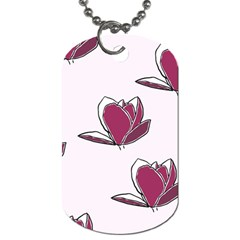 Magnolia Seamless Pattern Flower Dog Tag (One Side)