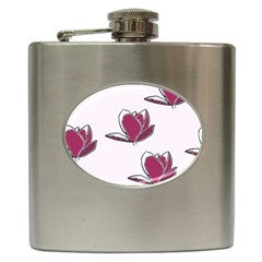 Magnolia Seamless Pattern Flower Hip Flask (6 oz)