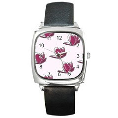 Magnolia Seamless Pattern Flower Square Metal Watch