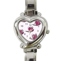 Magnolia Seamless Pattern Flower Heart Italian Charm Watch by Nexatart