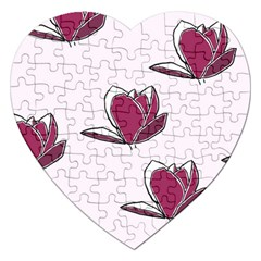 Magnolia Seamless Pattern Flower Jigsaw Puzzle (Heart)