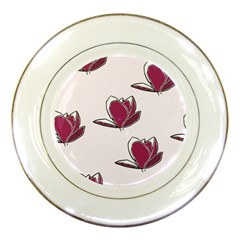 Magnolia Seamless Pattern Flower Porcelain Plates