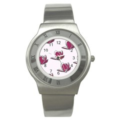 Magnolia Seamless Pattern Flower Stainless Steel Watch