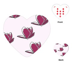 Magnolia Seamless Pattern Flower Playing Cards (Heart)