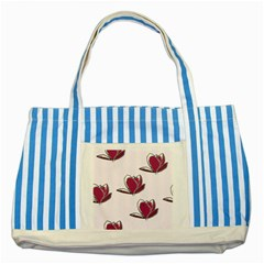 Magnolia Seamless Pattern Flower Striped Blue Tote Bag