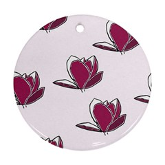 Magnolia Seamless Pattern Flower Round Ornament (Two Sides)